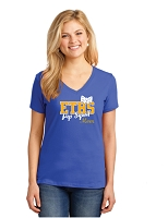 ETHS Pep Squad Ladies V Neck with Bow design and optional